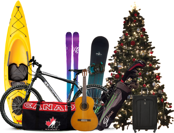 Storage of large items such as kayaks, christmas trees or musical instument storage