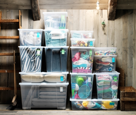 IKEA storage boxes, plastic bins for summer clothing and christmas decorations
