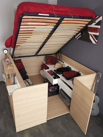 bed with storage space underneath